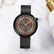 Shengke Reloj de lujo para mujer, de cuarzo, con correa de malla totalmente de acero, resistente al agua, femenino