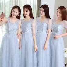 Light Gray Bridesmaid Dresses Light Grey Pink Short Sleeve Bridesmaid  Dresses SW1845(China) 436c749bd038