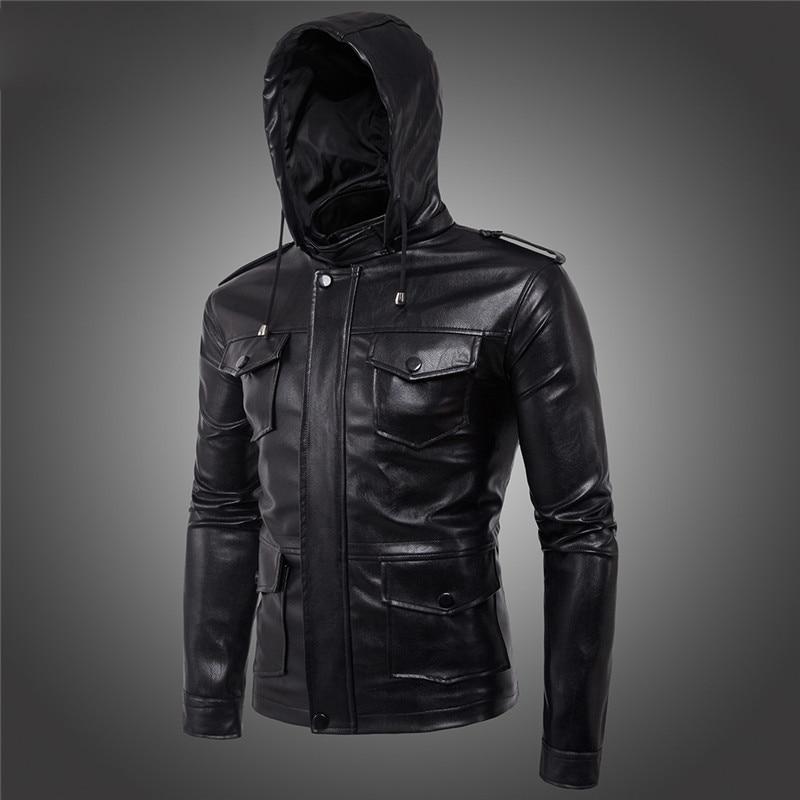 5xl À M 4xl Cuir Coréenne Noir Haute Taille Nouvelle Black En Veste Hommes Qualité Moto De Pu Mode Capuchon 3xl wUfFxqP