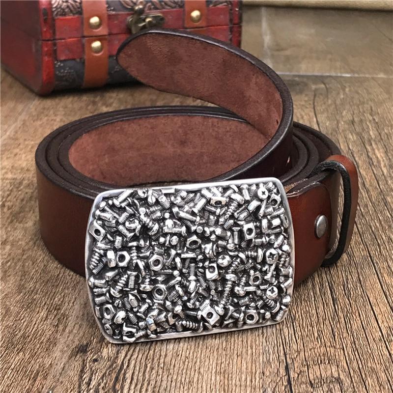 Screw Metal Belt Buckle Men Belt Super Thick Genuine Leather Cowboy Jeans Wide Belts For Men Ceinture Homme Man Strap MBT0497
