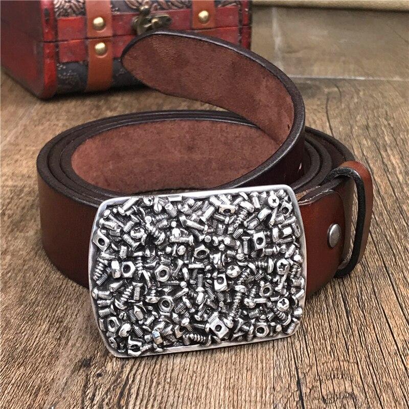 Vis métal Ceinture boucle hommes Ceinture Super épais en cuir véritable Cowboy Jeans larges ceintures pour hommes Ceinture Homme Homme sangle MBT0497