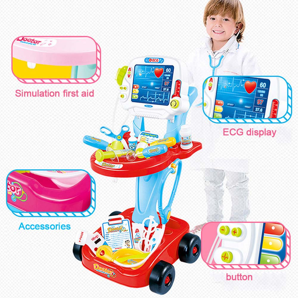 Children Classic Pretend Play Doctor Toy Set with Simulated Electrocardiogram Kit Role Play Toys Pretend Play Medical Toys SetChildren Classic Pretend Play Doctor Toy Set with Simulated Electrocardiogram Kit Role Play Toys Pretend Play Medical Toys Set