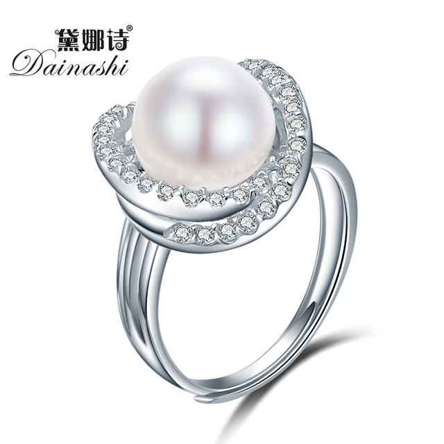 Dainashi Fine Cross Round Rings For Women 925 Sterling Silver Jewelry Natural Wh