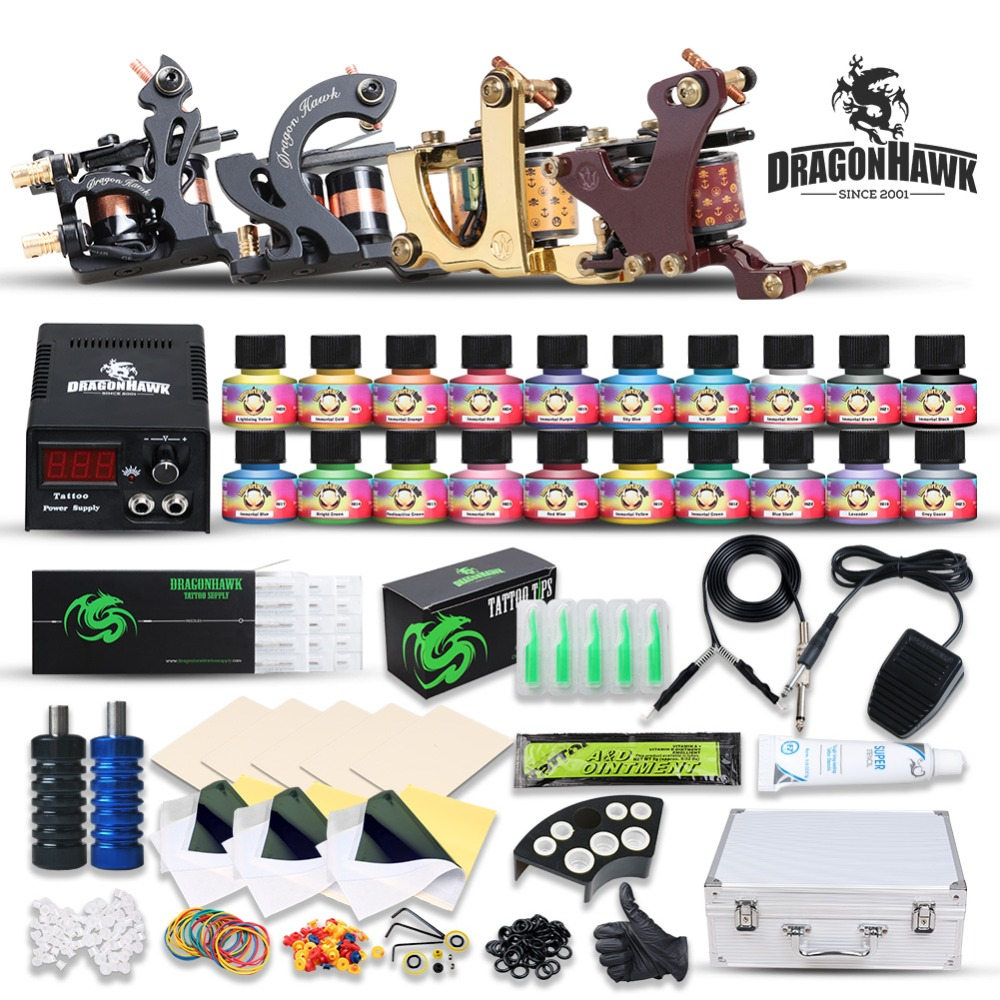 Complete Beginner Top Tattoo Kit Machine Gun USA Color Ink Power Supply Needle Grip Tip Set BoxComplete Beginner Top Tattoo Kit Machine Gun USA Color Ink Power Supply Needle Grip Tip Set Box