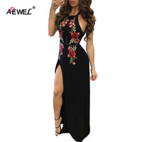 ADEWEL Sexy Floral Embroidery Women Black Maxi Dress High Split Bodycon Long Dress Club Party Wear Open Back dresses