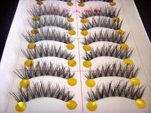 Free shipping  hot sale 10Pairs Hand made full strip Fake False Eyelashes Natural Long ThickCotton Stem F06 Beauty Health Makeup