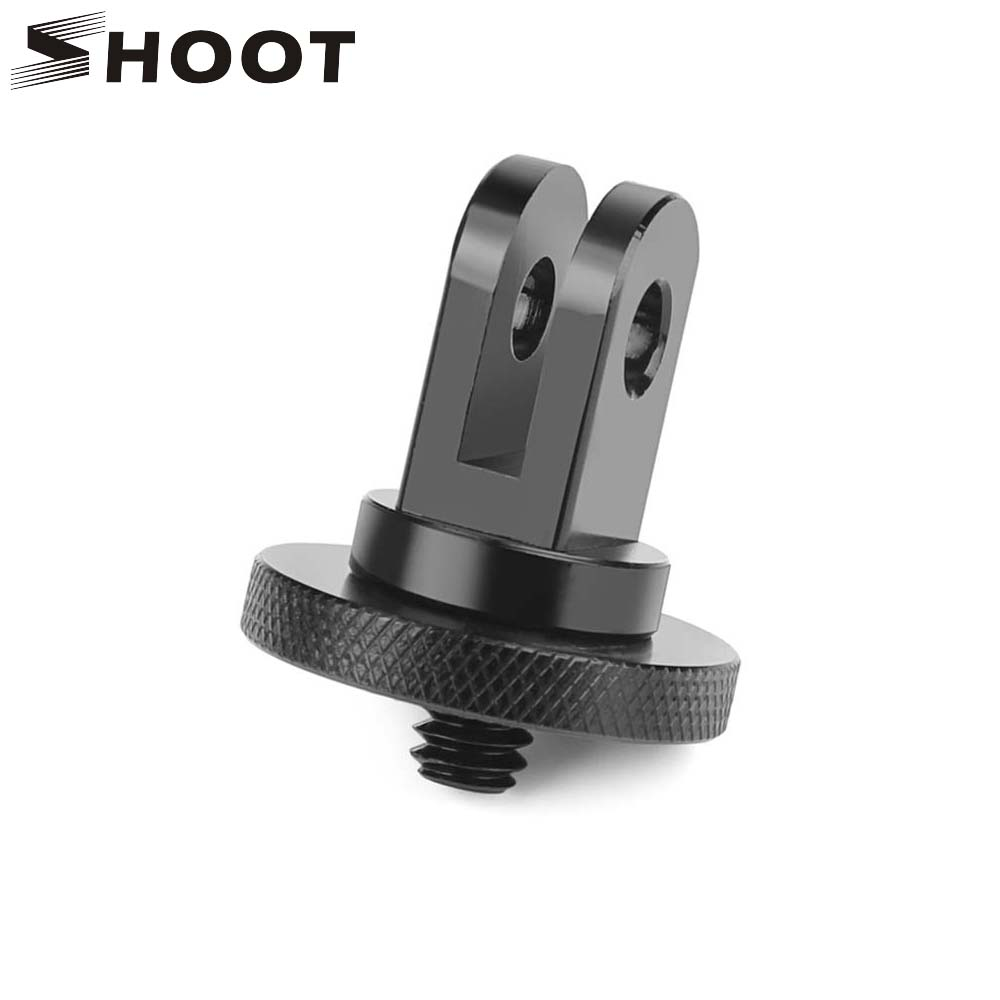 SHOOT Aluminum Alloy 1/4 inch Mini Tripod Adapter Mount for GoPro Hero 7 5 6 Session Sjcam Sj4000 Xiaomi Yi 4K Eken H9 Accessory for go pro cnc aluminum alloy tripod mount base tripod adapter for gopro hero 5 4 3 3 2 1 sj4000 for xiaomi yi sports camera