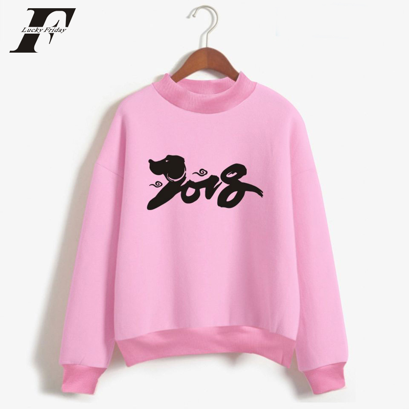 LUCKYFRIDAYF 2018 BTS New Year Of Dog oversized hooded Sweatshirt men Women Hip Hop Hoodies moletom masculino Casual Clothes