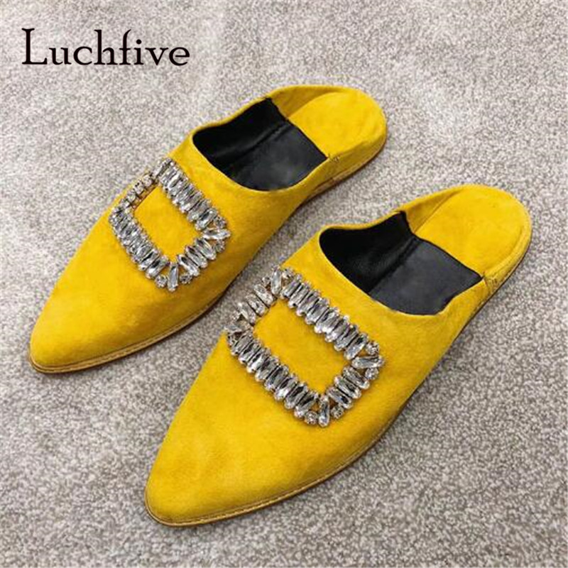 New summer rhinestone women slippers casual pointed toe slip on shallow Shoes Woman comfortable flat slippers black white yellow