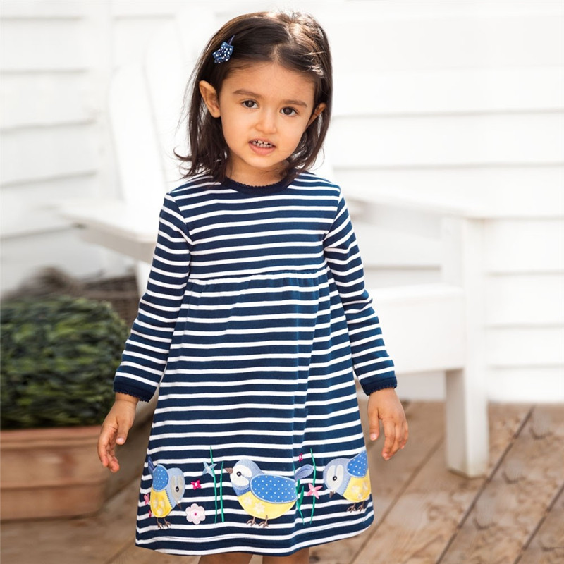 Jumping meters Top brand Dresses girls baby new clothing cotton striped applique animals princess autumn spring kids dress girl