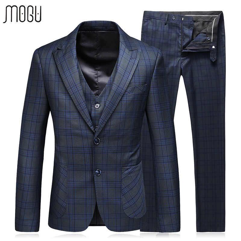 Mogu格子3枚スリムフィットパーティードレス2017秋新しいファッション格子縞の結婚式の男性スーツ衣装アジアサイズ5xl男性のスーツ
