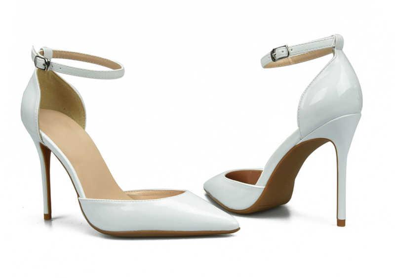 KNCOKAR Il 2018 stagione primavera e in autunno nuovo brevetto fibbia in pelle singolo scarpe nude a punta degli alti talloni delle donne sandali stiletto