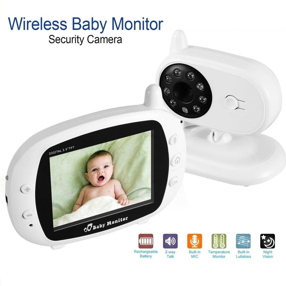 3.5 inch Wireless Video Color Baby Monitor High Resolution Baby Nanny Security Camera 2.4GHz Night Vision Temperature Monitoring3.5 inch Wireless Video Color Baby Monitor High Resolution Baby Nanny Security Camera 2.4GHz Night Vision Temperature Monitoring