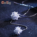 DuoTang New Classic Silver Plated Double Ice Flower Pendant Necklace Fine Luxury Elegant Zircon Long Necklace Woman Jewelry Gift