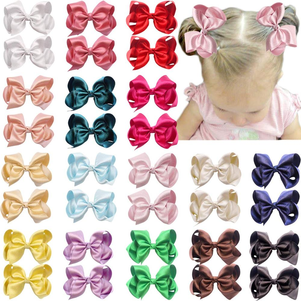 32PCS 4.5 Inch Hair Bows Clips Premium Glitter Silky Ribbon Boutique Hair Bow Alligator Clips For Girls Teens Toddlers Kids