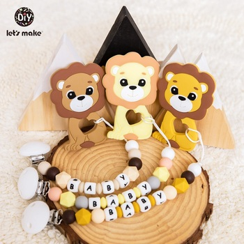Let's Make 1pc Baby Pacifier Chain Food Grade Silicone Beads Lion Infant Teething Toys Bpa Free Silicone Animal Baby Teether personalized name baby teether silicone pacifier clips holder infant teething toys baby shower gift food grade silicone
