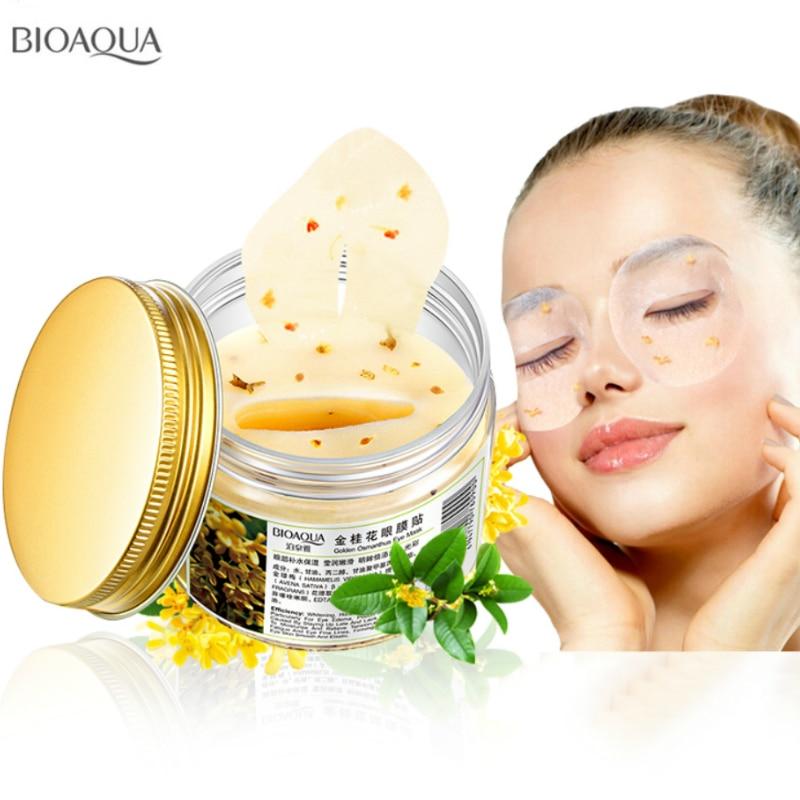 BIOAQUA 80 pcs/bottle140g Or Osmanthus masque Pour Les Yeux Gel de Collagène protéines de lactosérum soins du visage sommeil correctifs santé mascaras 140g