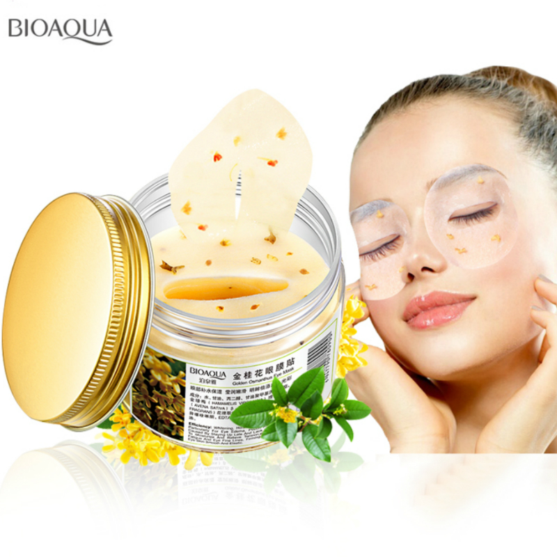 BIOAQUA 80pcs/bottle140g Gold Osmanthus Eye mask Collagen Gel whey protein face care sleep patches health mascaras 140g