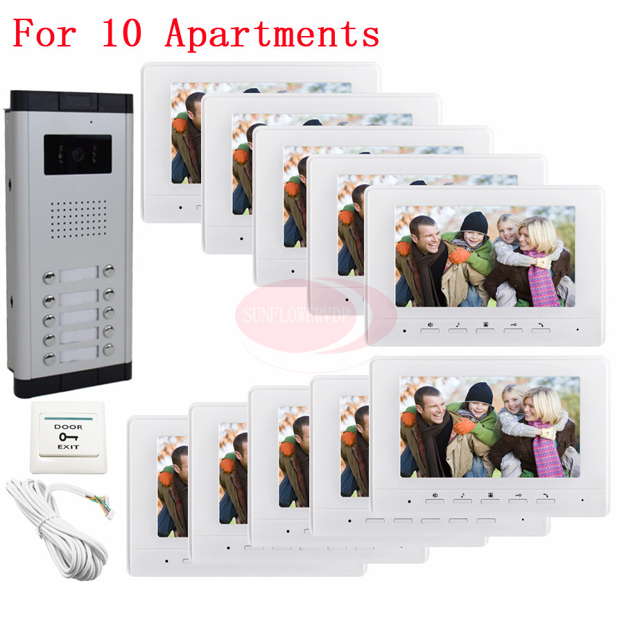 10 Units Apartment Video Door Phone Camera Intercom IR Night Vision Doorbell for 10 Units Apartment Suitable 10-Stories Building my apartment