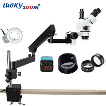 Cheapest prices Lucky Zoom Brand 3.5X-90X Articulating Arm Zoom Stereo Microscope 14MP HDMI Digital Camera 2.0X 0.5X Objective Len 144LED Light