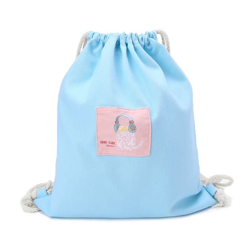 Women Printing Drawstring Bag Cinch Sack Storage Shopping Travel Bag Backpack
