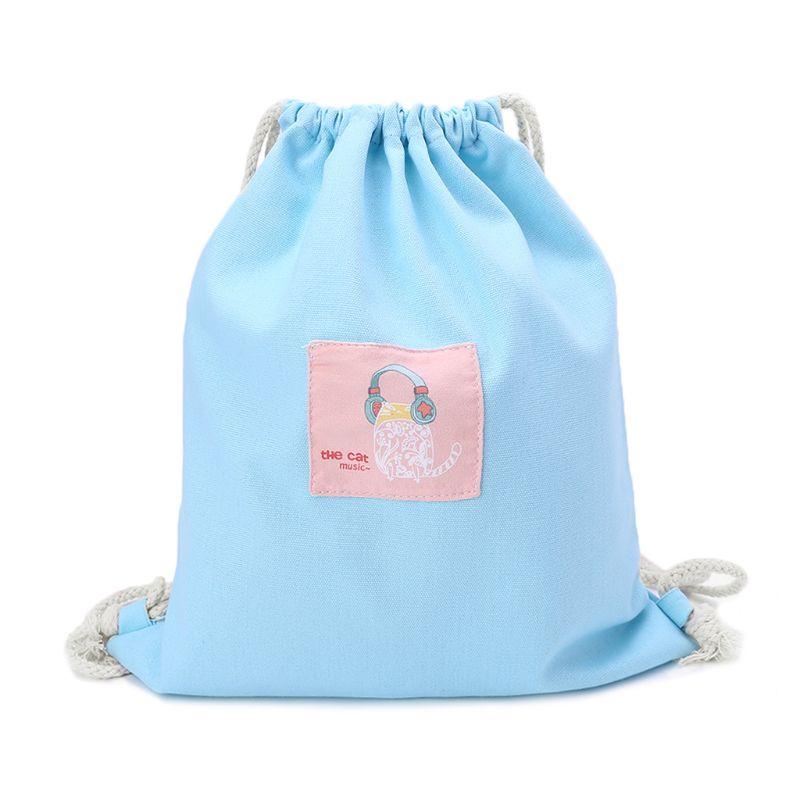 Women Printing Drawstring Bag Cinch Sack Storage Shopping Travel Bag Backpack