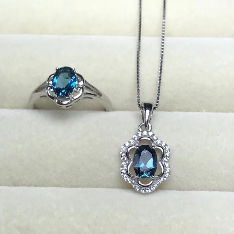 KJJEAXCMY boutique jewels 925 sterling silver inlaid natural blue topaz pendant ring 2 sets three-dimensional hollow outKJJEAXCMY boutique jewels 925 sterling silver inlaid natural blue topaz pendant ring 2 sets three-dimensional hollow out