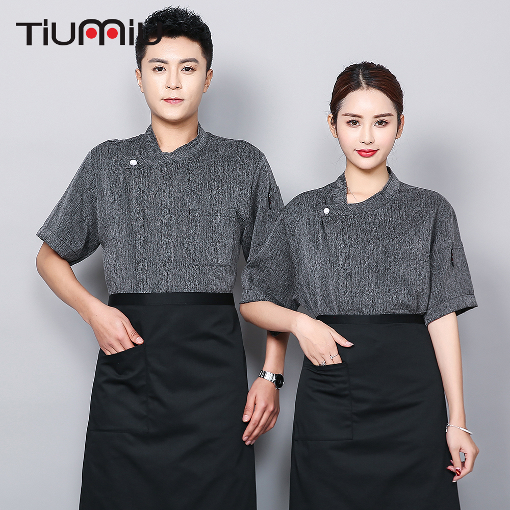 High Quality Chef Jacket Breathable Short-sleeved Chef Shirt Restaurant Kitchen Hotel Uniforrm Barber Sushi Costume Work Clothes