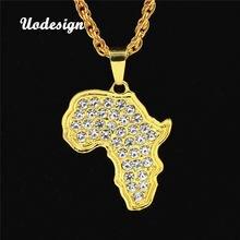 Uodesign Африканская Карта Ожерелье Золотой цвет кулон и цепь