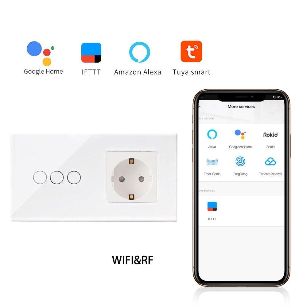 Bingoelec WIFI Touch Switch EU Standard 3 Gang 1 Way Crystal Glass Panel Germany Socket Wall Switch Wireless Control By Tuya APP