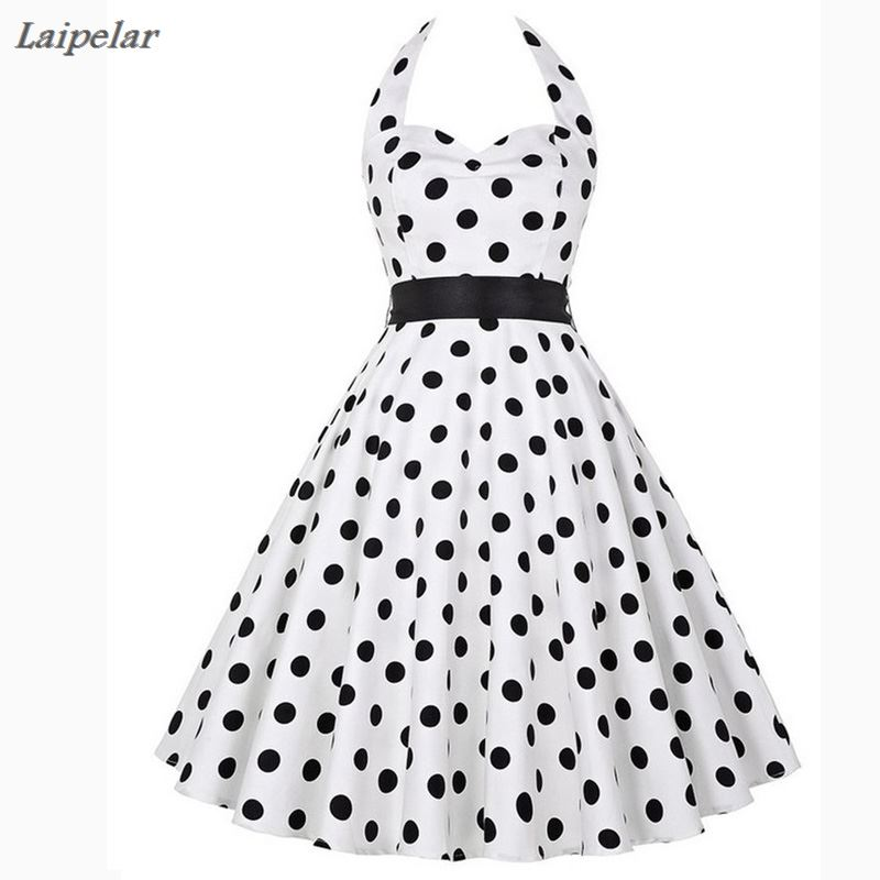 Polka Dot Dress Women 2018 Robe Femme Vintage Big Swing Halter 50s 60s Rockabilly Summer Retro Party Dresses White Black Vestido in Dresses from Women 39 s Clothing