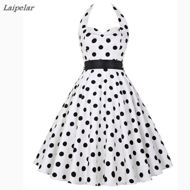 e65d6f8629a5 Polka Dot Dress Women 2018 Robe Femme Vintage Big Swing Halter 50s 60s  Rockabilly Summer Retro