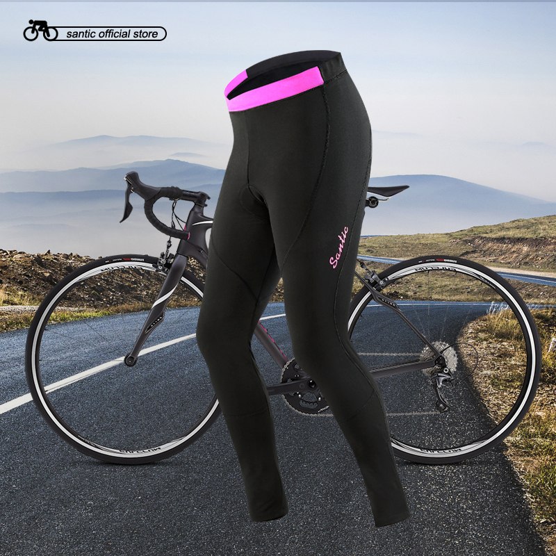 Santic Women Cycling Fleece Padded Pants Winter Windproof Reflective Bike Thermal Pants Keep Warm Asian S-2XL L6C04078H warm winter cycling protective mask men s and women s whol