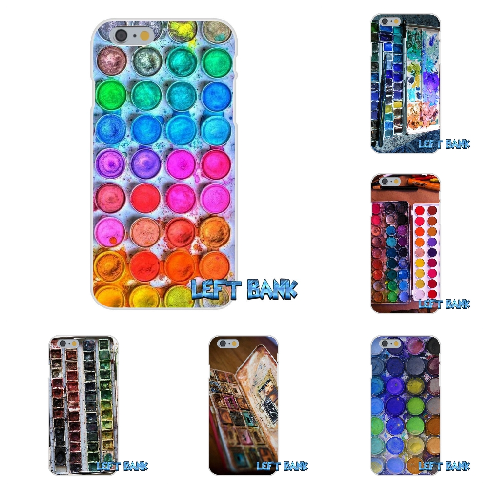 Designer Watercolor Set Paint Box Soft Silicone TPU Transparent Cover Case For iPhone 4 4S 5 5S 5C SE 6 6S 7 Plus