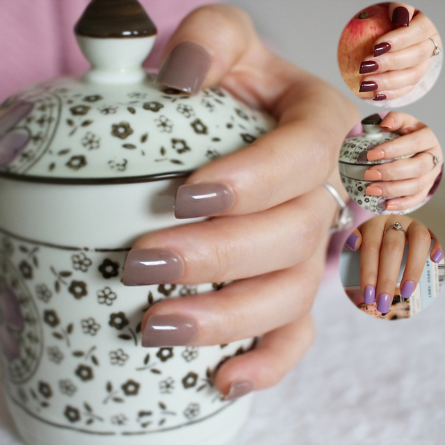Shine Light Chocolate Color Brown 24 Pcs Sweet Candy Short Purple Red Artificial False Fake Nails Full Wrapped Tips
