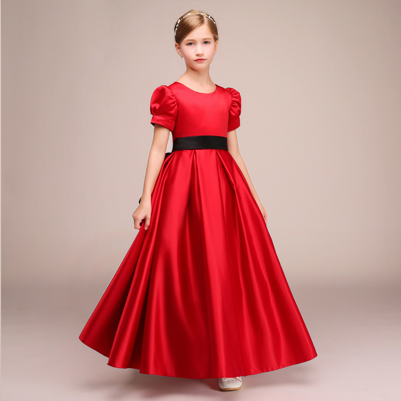 EXNY Elegant Red Floor length   Flower     Girls     Dresses   Short Sleeve Long Satin Party   Dress   with black Sashes