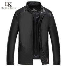 Spring leather jacket men Dusen Klein Brand Nature Sheepskin Leather Coat Slim/Black/Wine 61B1633