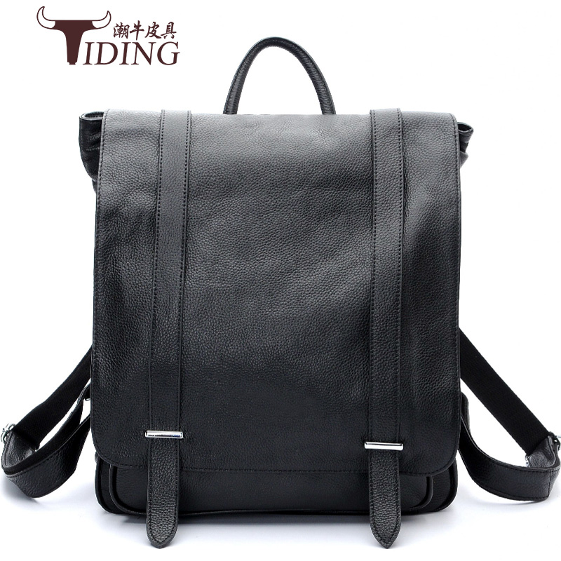Cow Leather Teenage Boys's Men 's Laptop Bag Backpacks For Men Genuine Leather Vintage Daypack Travel Casual School Book Bags
