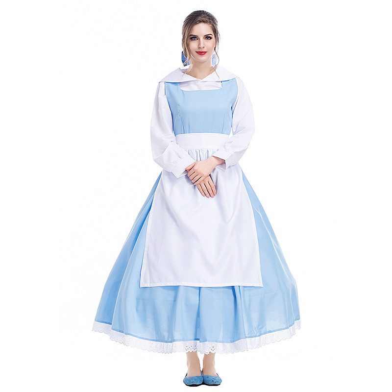 Fashion Beauty and the Beast Cosplay Adult Princess Belle Anime Uniform Halloween Cosplay Costume Blue Color Bella Maid Dress