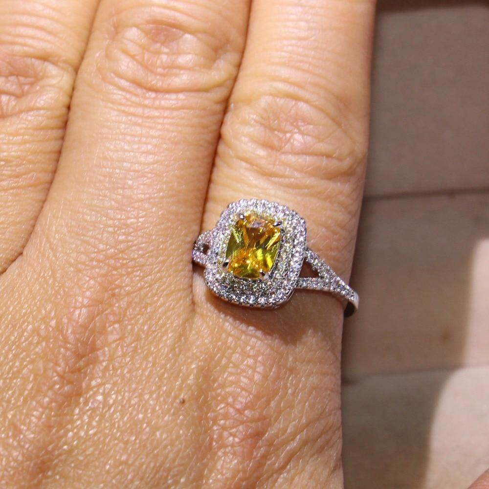 Taille 6-10 nouveauté bijoux de luxe coussin forme or CZ 925 en argent Sterling fête dames femmes mariage bague de fiançailles - 5