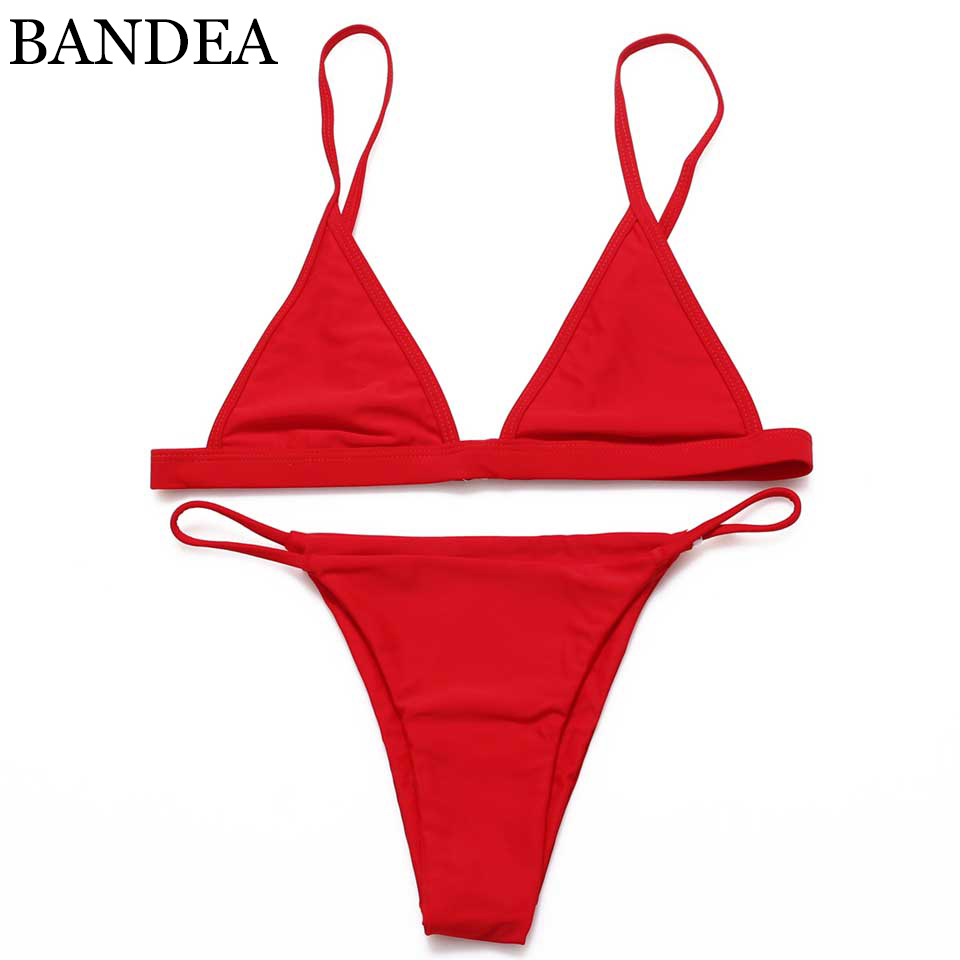 BANDEA Brazilian Bikini 2018 Sexy Women Biquini Halter Swimwear Summer Bikinis Solid Swimsuit Beach Red Black Maillot De Bain lyseacia women bikini 2017 high neck swimwear women pink bikinis set swimsuit solid color bikini sexy halter maillot de bain
