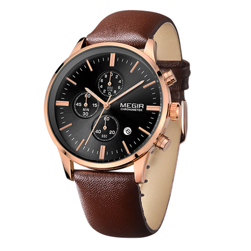 Mens Watch Brand Luxury Watch Men Sapphire Crystal Sport Wristwatch Chronograph Leather Quartz Watch 3 Bar Relogio Masculino seiko watch premier series sapphire chronograph quartz men s watch snde23p1