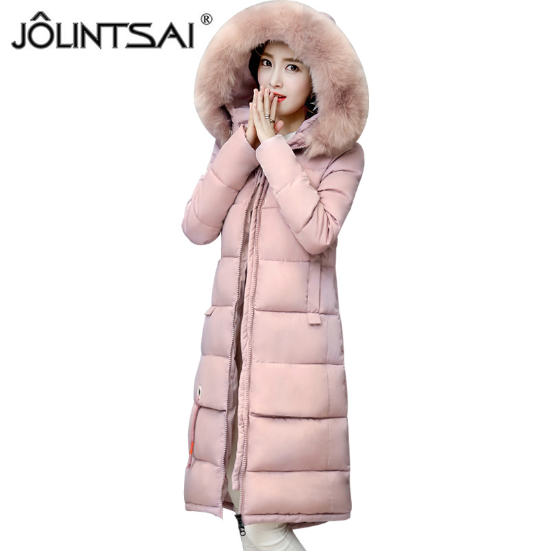 JOLINTSAI Winter Coat Jacket Women Warm Fur Hooded Woman Parkas Winter Overcoat Casual Long Cotton Wadded Lady Coats new mens warm long coats lady cotton warm jacket padded coat hooded parkas coat winter top quality overcoat green black size 3xl