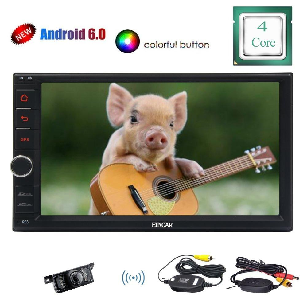 Wireless Rear Camera with Android6.0 Double 2 din Multi-Touch Screen 1080P Video GPS Navigation Bluetooth with External Micro