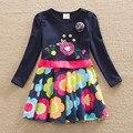 2016 Whoesale девочка одежды с длинным рукавом девушки платья с бантом красивые платья полный платье-линии детская одежда Новый стиль LH5868