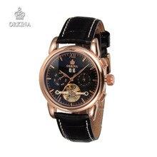 Мужчины люксовый бренд ORKINA автоматические механические наручные часы черный бизнес часы для мужчин