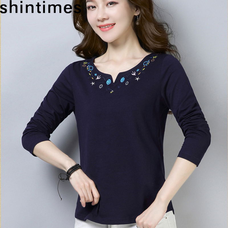 Shintimes Vintage T-Shirt Embroidery T Shirt Long Sleeve Tshirt Women Clothes 2019 V-Neck Cotton Floral Plus Size Camiseta Mujer