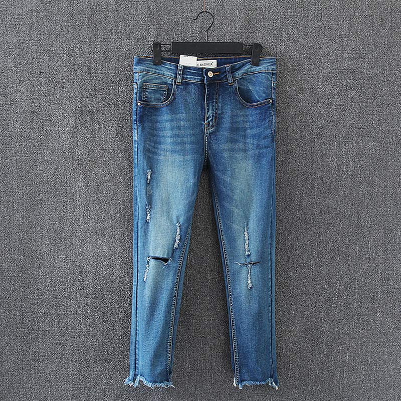 D6 Summer Casual Women Skinny Jeans Plus Size Clothes Fashion Bleached Ripped Hole Stretch Denim Ankle-length Pencil Pants 9022