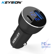 KEYSION Dual USB PD Fast Car Charger for iPhone XS Max XR X 8P QC 3.0 Quick Samsung Xiaomi With LED Digital Display