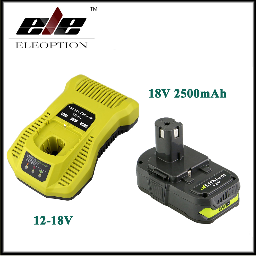 18V 2500mAh Li-ion Replacement Battery For Ryobi RB18L25 One Plus for P103 P104 P105 P108 with P117 12-18V Charger